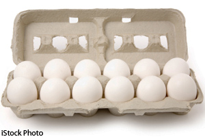 Carton of chicken eggs
