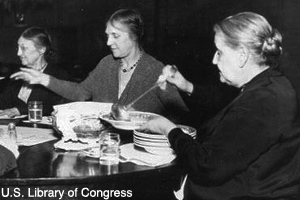 Jane Addams serving soup at Hull House