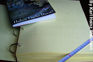 A braille compared to a printed book