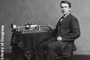 Edison with his invention, the phonograph