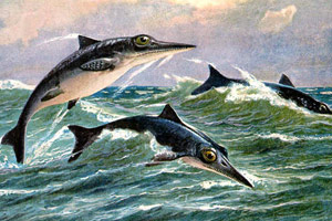 A painting of ichthyosaurs
