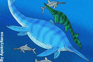 Different sizes of ichthyosaurs