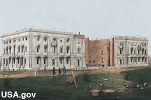 A painting showing the destroyed Capitol Building during the War of 1812