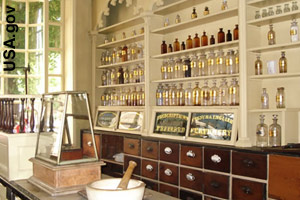 Model of a colonial apothecary