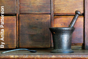 An old mortar and pestle