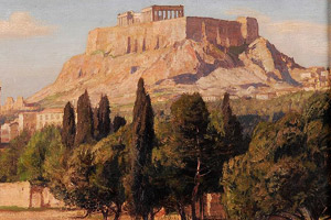 Painting showing an acropolis with steep walls