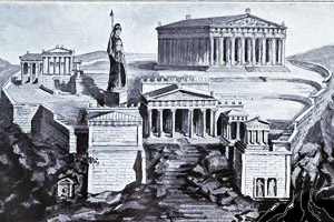 A drawing of the Acropolis of Athens