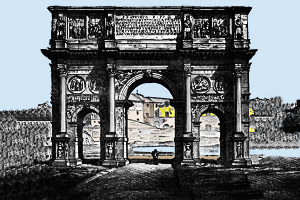 A triumphal arch, the Arch of Constantine