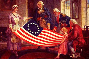 Ross giving the flag to George Washington