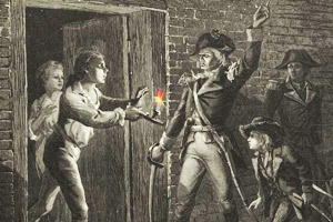 British soldier surrendering to Ethan Allen