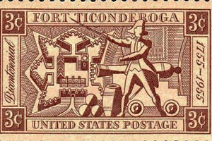 A U.S. stamp commenerating the capture of Fort Ticonderoga