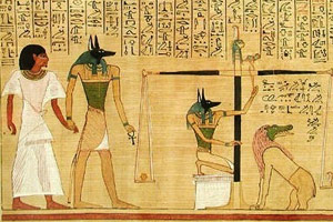 Anubis weighing the heart of the dead