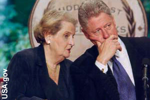 Albright talking with President Clinton