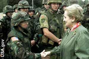 Albright meeting our troops in 1998