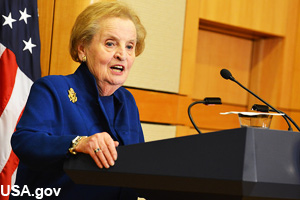 Madeleine Albright continues to give speeches and lectures.
