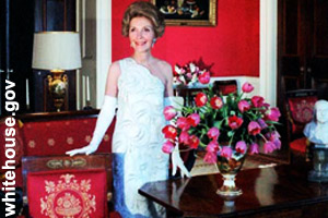 Nancy Reagan in the Red Room of the <br>White House