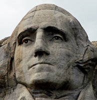 Washington's face carved into Mount Rushmore