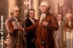 Washington swearing in as president
