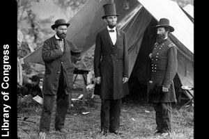 Lincoln visiting Union troops in 1862
