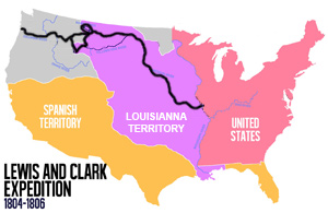 Black line shows the course of Lewis and Clark