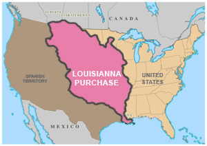 The land added from the Louisianna Purchase