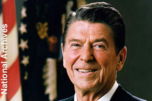 The official photo of President Ronald Reagan