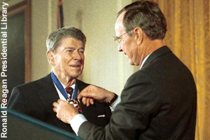 Reagan receiving the <br>Presidential Medal of Freedom in 1993