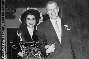 Gerald and Betty Ford's wedding day in 1948