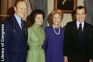 Vice-President Ford and Betty with <br>President Nixon and Pat in 1973