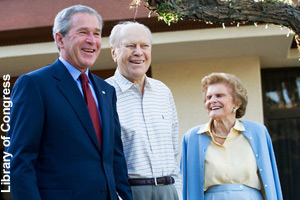 Ford, age 93, with President Bush <br>and Betty Ford