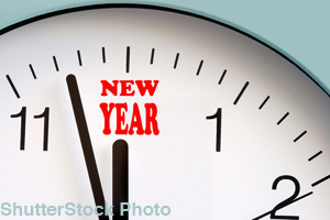 The new year starts at midnight on January 1.