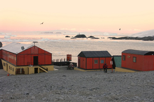 Shacks on Esperanza Station, an Argentinian research center on Antarctica.
