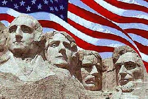 Presidents Washington, Jefferson, Roosevelt, and Lincoln carved in Mt. Rusmore
