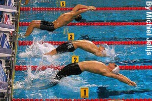 Beginning of a backstroke swimming race