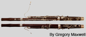 Front and back view of a bassoon